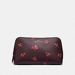 COSMETIC CASE 22 WITH BABY BOUQUET PRINT - OXBLOOD MULTI/LIGHT GOLD - COACH F32000