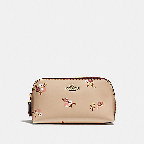 COACH COSMETIC CASE 17 WITH BABY BOUQUET PRINT - BEECHWOOD MULTI/LIGHT GOLD - F32012