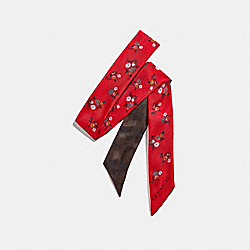 COACH BABY BOUQUET PRINT SKINNY SCARF - BRIGHT RED - F32030