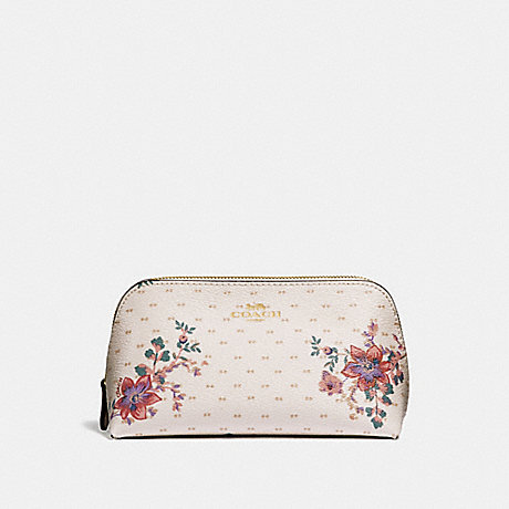 COACH COSMETIC CASE 17 WITH MINI MAGNOLIA BOUQUET PRINT - CHALK MULTI/LIGHT GOLD - F32067