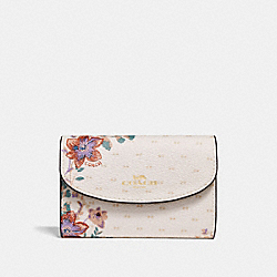 KEY CASE WITH MINI MAGNOLIA BOUQUET PRINT - CHALK MULTI/LIGHT GOLD - COACH F32068