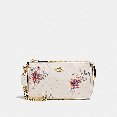 COACH LARGE WRISTLET 19 WITH MINI MAGNOLIA BOUQUET PRINT - CHALK MULTI/LIGHT GOLD - F32069