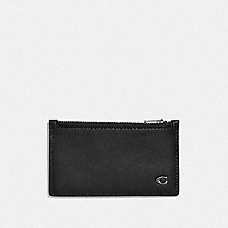 ZIP CARD CASE WITH SIGNATURE HARDWARE - BLACK - COACH F32073