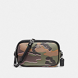 COACH CROSSBODY POUCH WITH WILD CAMO PRINT - GREEN MULTI/SILVER - F32076