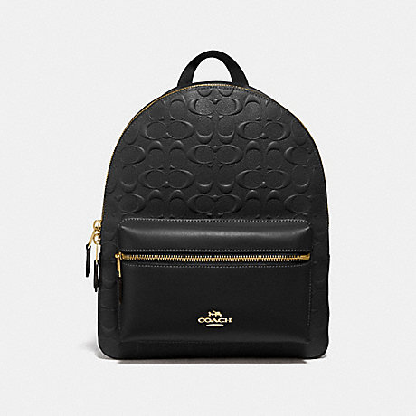 COACH MEDIUM CHARLIE BACKPACK IN SIGNATURE LEATHER - BLACK/LIGHT GOLD - F32083