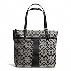COACH SIGNATURE STRIPE 12CM LARGE TOTE - SILVER/BLACK/WHITE/BLACK - F32101