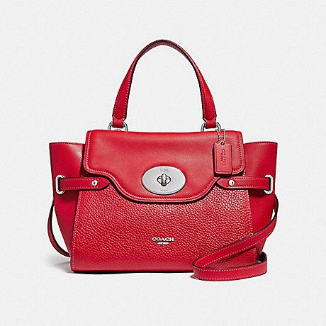 COACH BLAKE FLAP CARRYALL - BRIGHT RED/SILVER - F32106