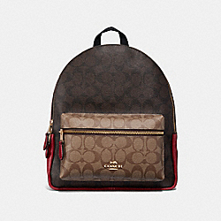 COACH MEDIUM CHARLIE BACKPACK IN COLORBLOCK SIGNATURE CANVAS - KHAKI/BROWN MULTI/LIGHT GOLD - F32111