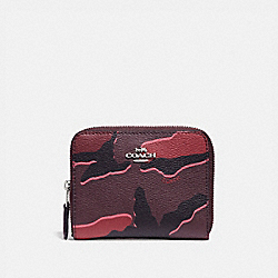 SMALL ZIP AROUND WALLET WITH WILD CAMO PRINT - BURGUNDY MULTI/SILVER - COACH F32155