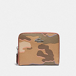 SMALL ZIP AROUND WALLET WITH WILD CAMO PRINT - KHAKI MULTI /SILVER - COACH F32155