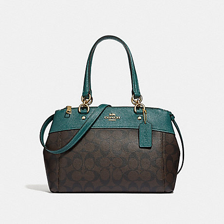 COACH MINI BROOKE CARRYALL IN SIGNATURE CANVAS - BROWN/DARK TURQUOISE/LIGHT GOLD - F32195