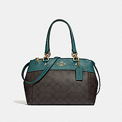 MINI BROOKE CARRYALL IN SIGNATURE CANVAS - BROWN/DARK TURQUOISE/LIGHT GOLD - COACH F32195