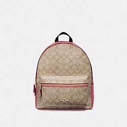 MEDIUM CHARLIE BACKPACK IN SIGNATURE CANVAS - LIGHT KHAKI/ROUGE/GOLD - COACH F32200
