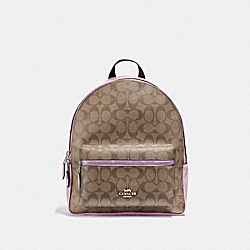 MEDIUM CHARLIE BACKPACK IN SIGNATURE CANVAS - KHAKI/LILAC/SILVER - COACH F32200