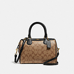 MINI BENNETT SATCHEL IN SIGNATURE CANVAS - KHAKI/BLACK/IMITATION GOLD - COACH F32203