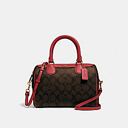 MINI BENNETT SATCHEL IN SIGNATURE CANVAS - BROWN/TRUE RED/GOLD - COACH F32203