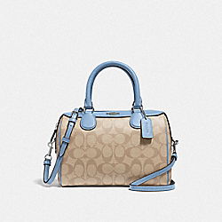 MINI BENNETT SATCHEL IN SIGNATURE CANVAS - LT KHAKI/CORNFLOWER/SILVER - COACH F32203