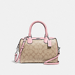 MINI BENNETT SATCHEL IN SIGNATURE CANVAS - LIGHT KHAKI/CARNATION/SILVER - COACH F32203