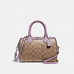 MINI BENNETT SATCHEL IN SIGNATURE CANVAS - KHAKI/JASMINE/SILVER - COACH F32203