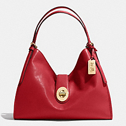 COACH MADISON CARLYLE SHOULDER BAG IN LEATHER - LIGHT GOLD/RED CURRANT - F32221