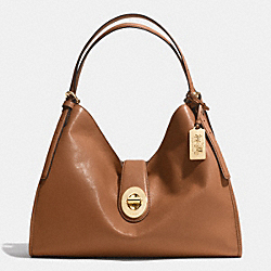 COACH MADISON CARLYLE SHOULDER BAG IN LEATHER - LIGHT GOLD/SADDLE - F32221
