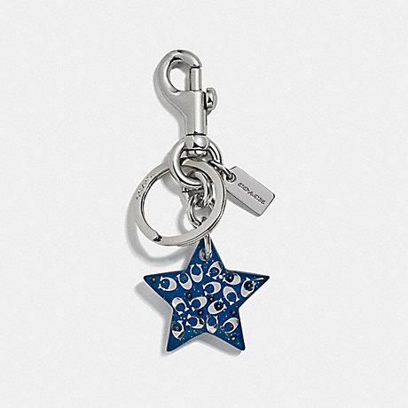 COACH SIGNATURE STAR BAG CHARM - ATLANTIC/SILVER - F32228