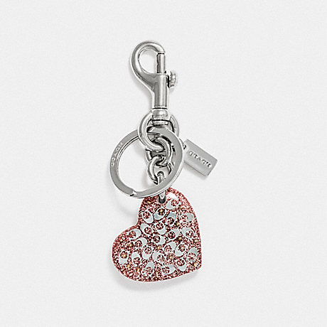 COACH SIGNATURE HEART BAG CHARM - NUDE PINK/SILVER - F32230