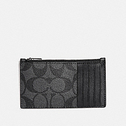 COACH ZIP CARD CASE IN SIGNATURE CANVAS - CHARCOAL/BLACK - F32256