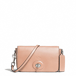 BLEECKER LEATHER PENNY CROSSBODY - f32261 - SILVER/ROSE PETAL