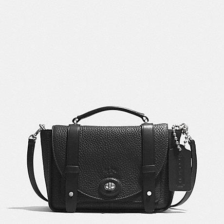 COACH BLEECKER MINI BROOKLYN MESSENGER BAG IN PEBBLE LEATHER - SILVER/BLACK - f32262