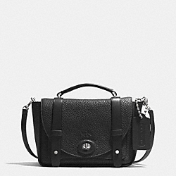 BLEECKER MINI BROOKLYN MESSENGER BAG IN PEBBLE LEATHER - SILVER/BLACK - COACH F32262