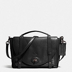 BLEECKER BROOKLYN MESSENGER IN LEATHER - AMBER/BLACK - COACH F32278