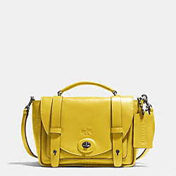 BLEECKER MINI BROOKLYN MESSENGER BAG IN LEATHER - BLACK ANTIQUE NICKEL/SAFFRON - COACH F32279
