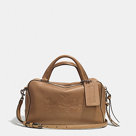 COACH BLEECKER LOGO SMALL TOASTER SATCHEL IN LEATHER -  AR/BRINDLE - f32283