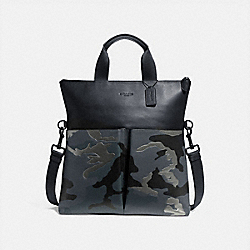 COACH CHARLES FOLDOVER TOTE WITH METALLIC CAMO PRINT - GREY MULTI/MATTE BLACK - F32303