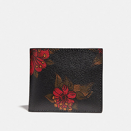 COACH DOUBLE BILLFOLD WALLET WITH HAWAIIAN LILY PRINT - REM - f32304