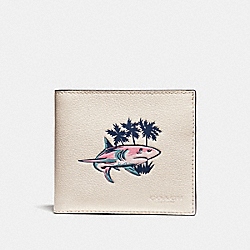 COACH DOUBLE BILLFOLD WALLET WITH SHARK PRINT - CHALK MULTI - F32305