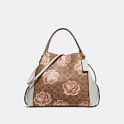 EDIE SHOULDER BAG 28 IN SIGNATURE ROSE PRINT - B4/TAN CHALK - COACH F32314