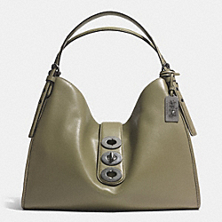 COACH MADISON TRIPLE TURNLOCK CARLYLE SHOULDER BAG IN LEATHER - BLACK ANTIQUE NICKEL/OLIVE GREY - F32325