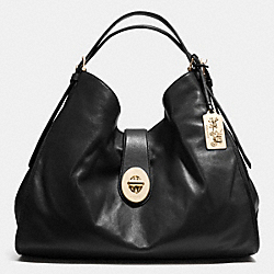 MADISON XL LEATHER CARLYLE SHOULDER BAG - f32328 - LIGHT GOLD/BLACK