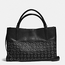 COACH GROMMETS SOFT BOROUGH BAG IN PEBBLE LEATHER - ANTIQUE NICKEL/BLACK - F32339