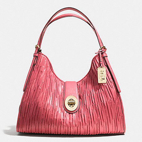 COACH MADISON CARLYLE SHOULDER BAG IN GATHERED LEATHER -  LIGHT GOLD/LOGANBERRY - f32343
