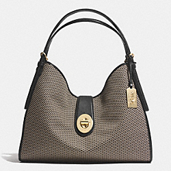COACH MADISON CARLYLE SHOULDER BAG IN JACQUARD FABRIC - LIGHT GOLD/MILK/BLACK - F32363