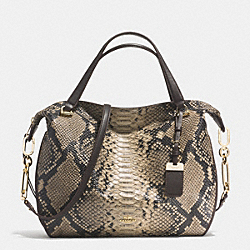 MADISON DIAMOND LARGE SMYTHE SATCHEL IN PYTHON LEATHER - f32366 -  LIGHT GOLD/NATURAL