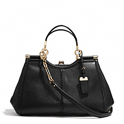 MADISON TEXTURED LEATHER PINNACLE CARRIE SATCHEL - f32377 - LIGHT GOLD/BLACK
