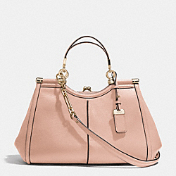 MADISON TEXTURED LEATHER PINNACLE CARRIE SATCHEL - f32377 - LIGHT GOLD/ROSE PETAL