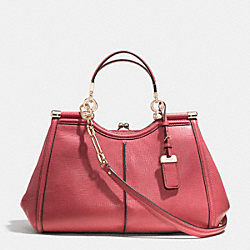 COACH MADISON TEXTURED LEATHER PINNACLE CARRIE SATCHEL - LIGHT GOLD/LOGANBERRY - F32377