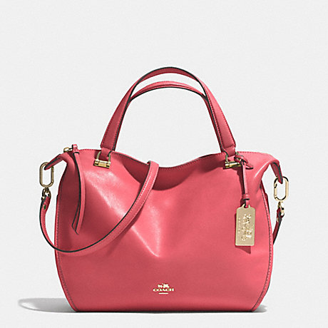 COACH MADISON SMYTHE SATCHEL IN LEATHER -  LIGHT GOLD/LOGANBERRY - f32405
