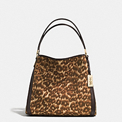 MADISON OCELOT PRINT FABRIC SMALL PHOEBE SHOULDER BAG - f32410 - LIGHT GOLD/MULTICOLOR