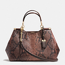 COACH MADISON CAROLINE SATCHEL IN DIAMOND PYTHON EMBOSSED LEATHER - LIGHT GOLD/BRICK - F32411